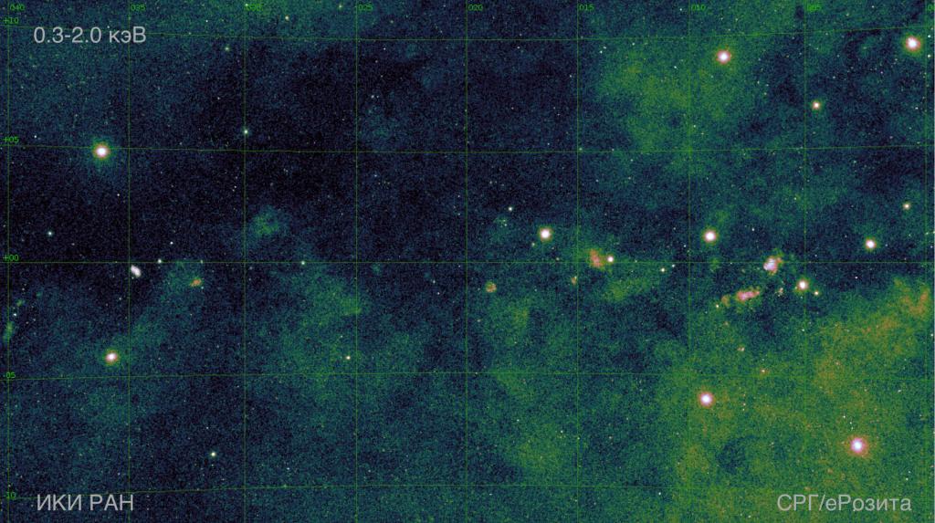 Карта области Центра Галактики и Галактической плоскости размером 40х20 градусов в диапазоне 0.3–2.0 кэВ. Изображение: ИКИ РАН