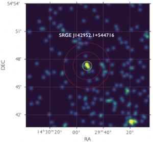 Рентгеновское изображение квазара CFHQS J1429+5447 на z=6,2 по данным телескопа СРГ/еРОЗИТА (квазар в центре изображения)