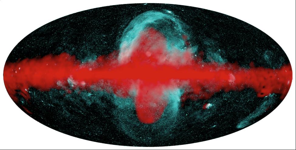 Наложение карт нашей Галактики, полученных телескопами СРГ/еРОЗИТА и «Ферми» (NASA). Изображение из статьи P. Predehl, R.A. Sunyaev, et al.