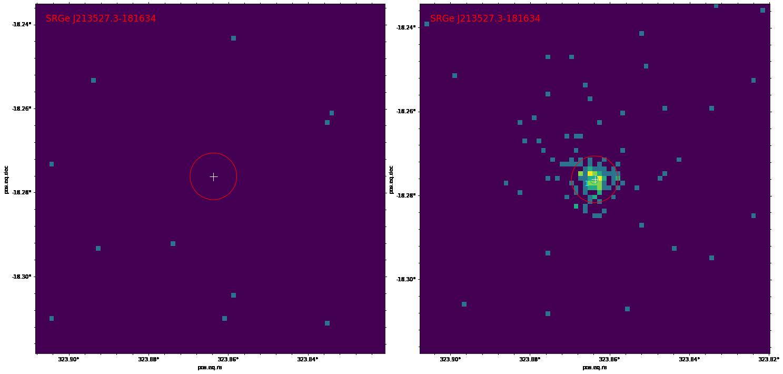 Рентгеновские изображения участка неба размером 5х5 угловых минут в диапазоне 0.3-2.2 кэВ, полученные телескопом СРГ/еРОЗИТА в первом (слева) и во втором (справа) обзоре неба. Каждая светлая точка изображает один (или более) рентгеновский фотон. В первом обзоре из окрестности источника не зарегистрировано ни одного фотона, во втором обзоре — более ста рентгеновских фотонов