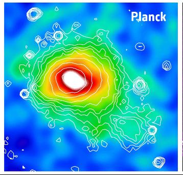 Рис. 3. Изображение скопления Кома в микроволновых лучах, полученное спутником Planck (c) ESA/ LFI & HFI Consortia