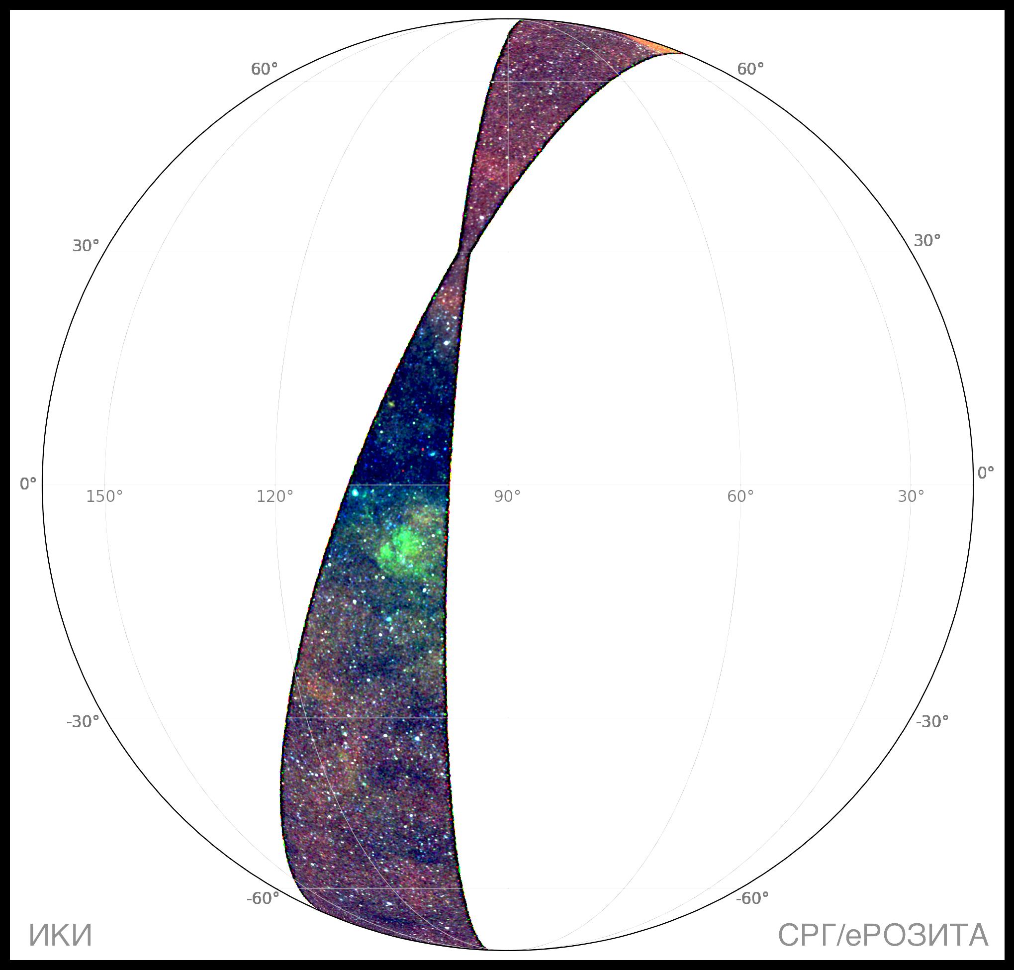 RGB-карта участка неба, покрытого в ходе первых трех недель сканирования, начатого в середине декабря 2020 г. (третий обзор всего неба), телескопом СРГ/еРОЗИТА © Гильфанов, Медведев, Сюняев и российский консорциум СРГ/еРОЗИТА, 2021