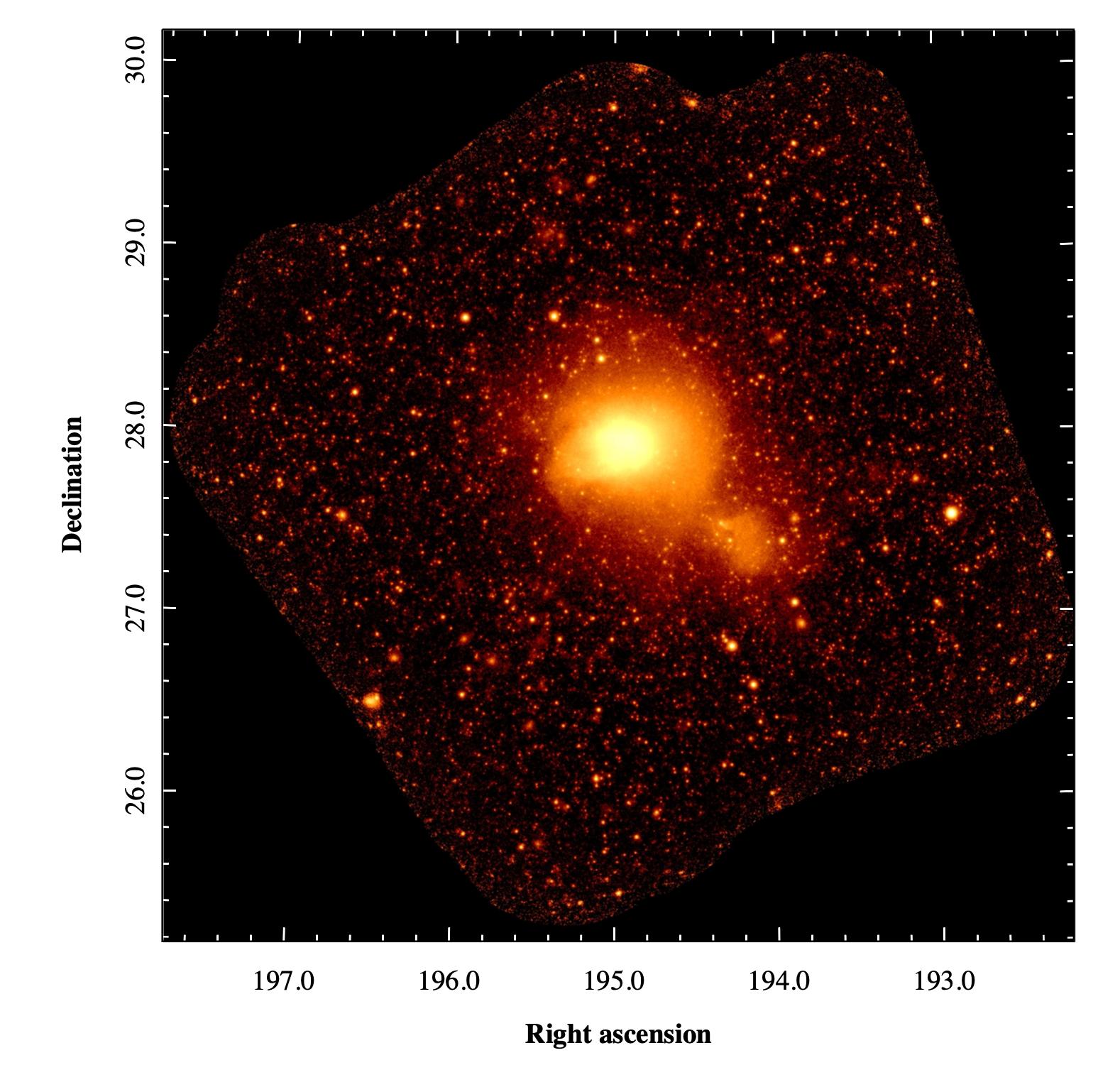 Рис. 2 Рентгеновское изображение скопления галактик Кома в диапазоне 0.4 — 2 кэВ, полученное при помощи телескопа СРГ/eROSITA (с) Российский консорциум СРГ/еРОЗИТА, 2021